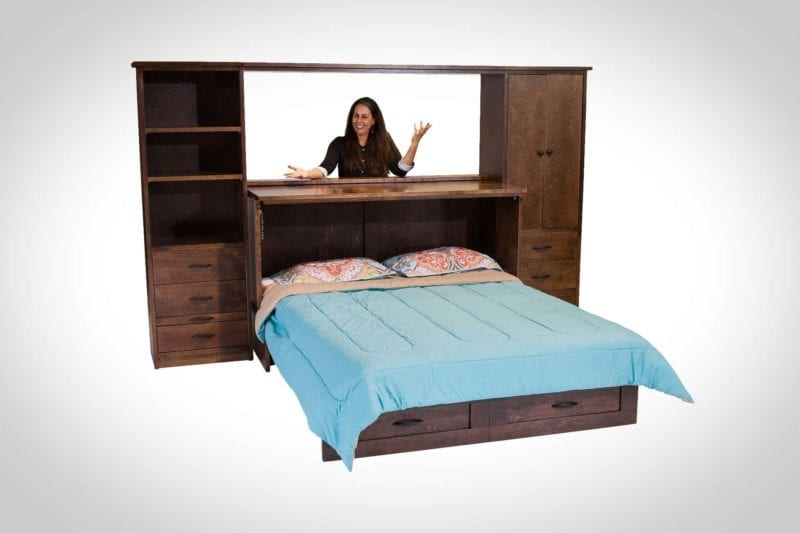 Owner Harriet Greenlees with a Town and Country Cabinet Bed piers espresso finish