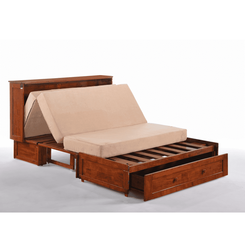 Clover Cabinet Bed Rich Cherry easy fold out bed with memory foam mattress