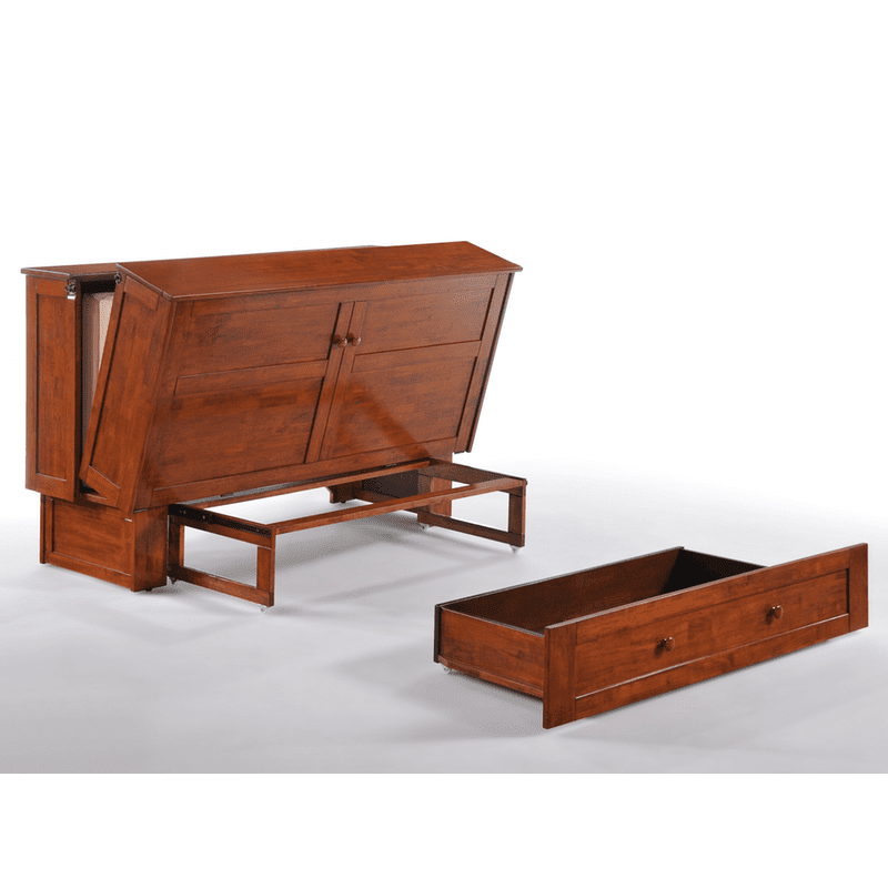 Clover Cabinet Bed Rich Cherry easy fold out bed with drawer
