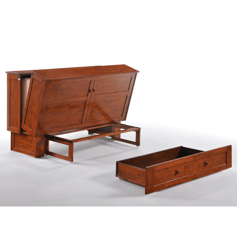 Clover Cabinet Bed Rich Cherry Easy Fold Out With Drawer