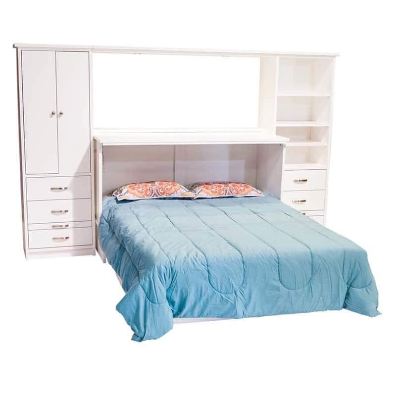 Town Country Cabinet Bed in White Paint with optional side piers