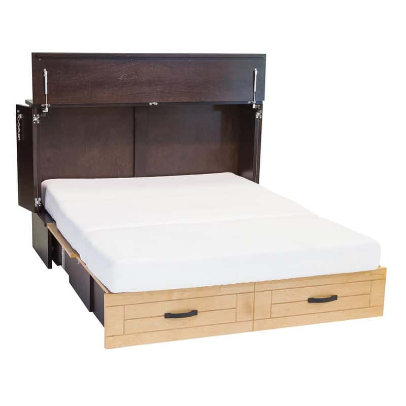 Metro Cabinet Bed In Espresso And Natural With Memory Foam