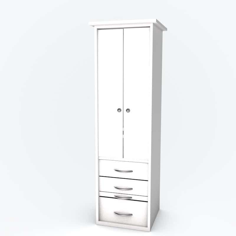 Cabinet bed piers doors white paint finish