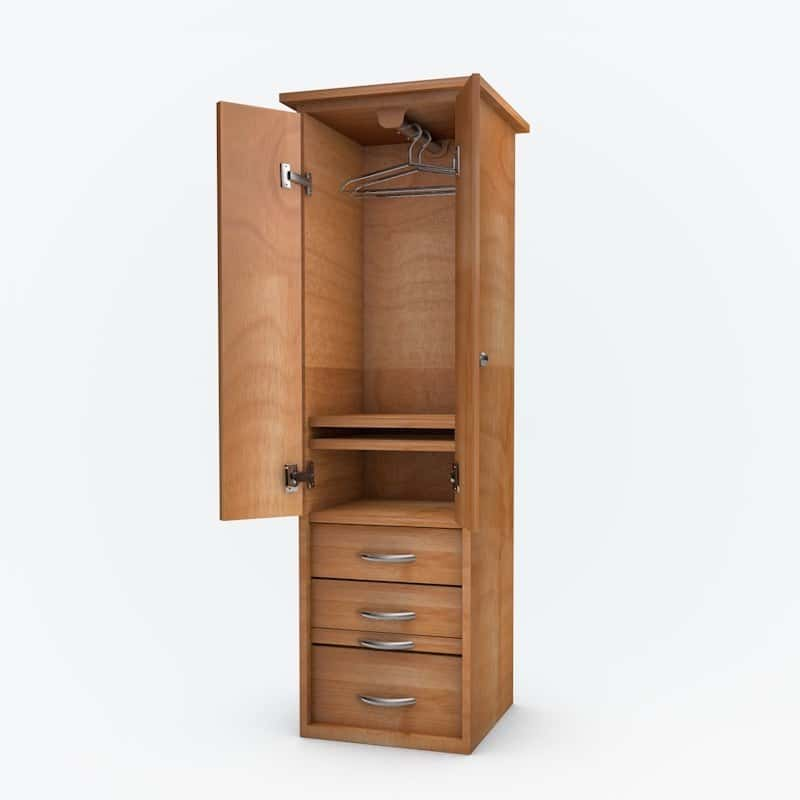 Cabinet Bed Side Pier with doors and clothes hanger in natural finish