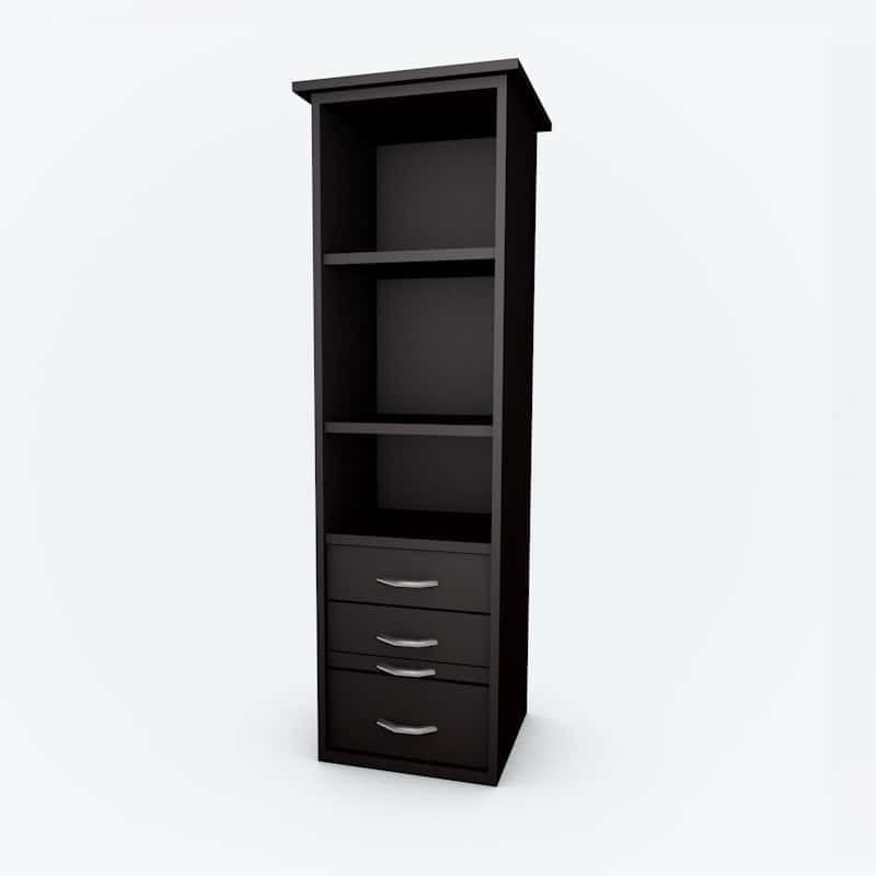 Cabinet Bed Side Pier open shelves black paint