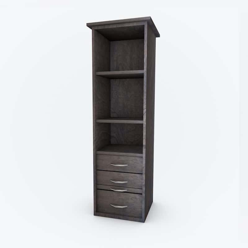Cabinet Bed Side Pier open shelves grey finish