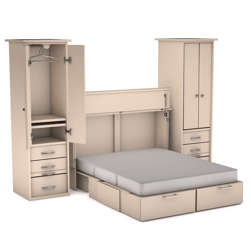 The Denva Wall Unit Is A Queen Size Bed With Storage All