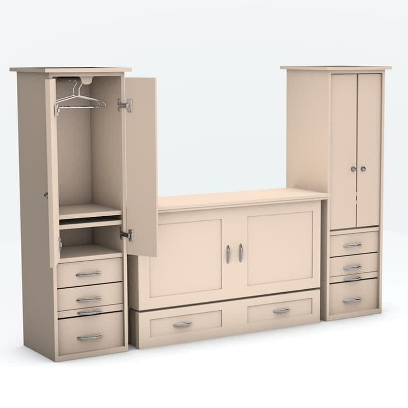 Town Country Cabinet Bed with piers Antique White finish
