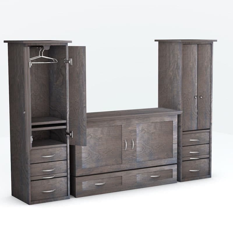 Town Country Cabinet Bed with piers Grey finish
