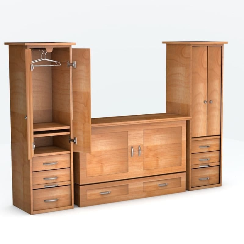 Town & Country Cabinet Bed with piers in Natural finish