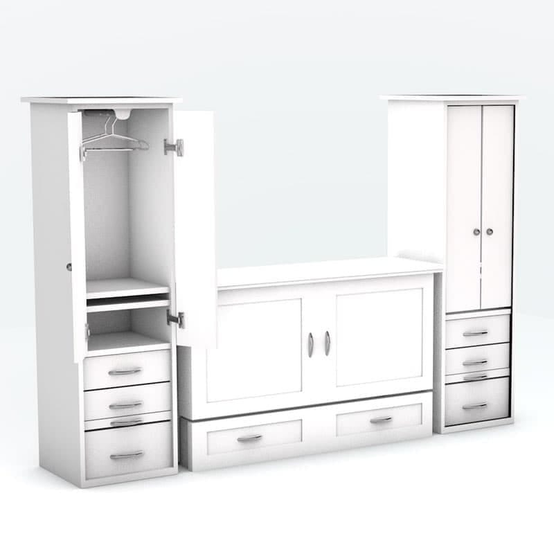 Town & Country Cabinet Bed with piers White paint finish