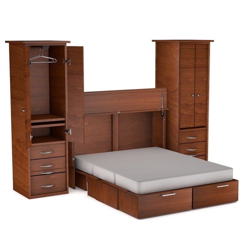 metro cabinet bed wall unit with storage piers
