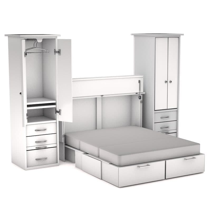 Metro Storage Cabinet : The metro cabinet bed and piers has modern styling