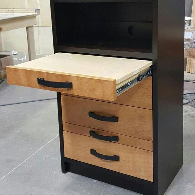 2 Tone Cabinet Bed USA Short Desk Pier In Black And Natural